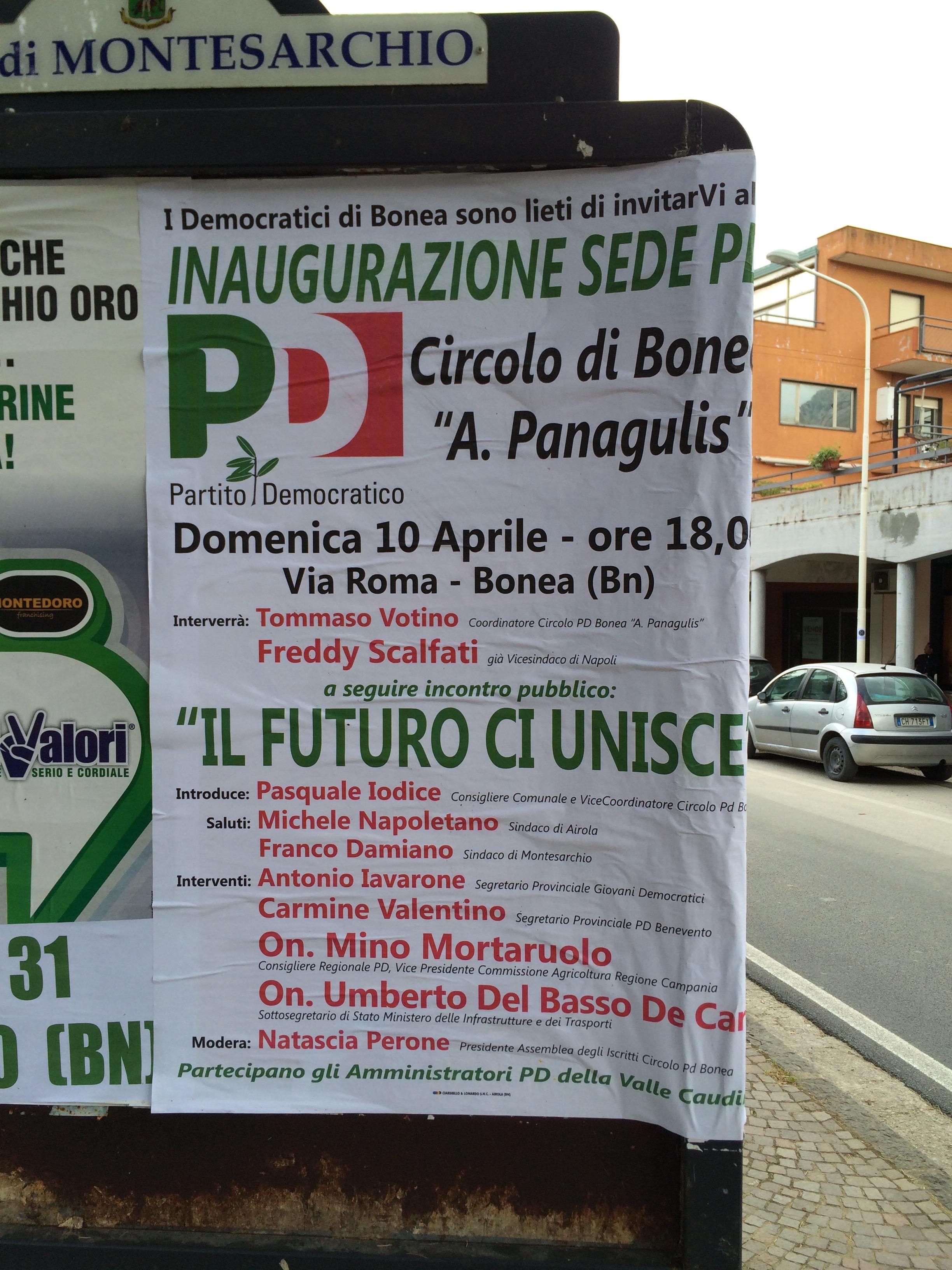Il Pd di Bonea ospita il sottosegretario De Caro