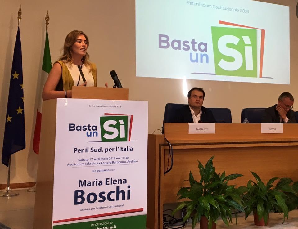 Avellino| Boschi: nessuna deriva autoritaria, riforma necessaria