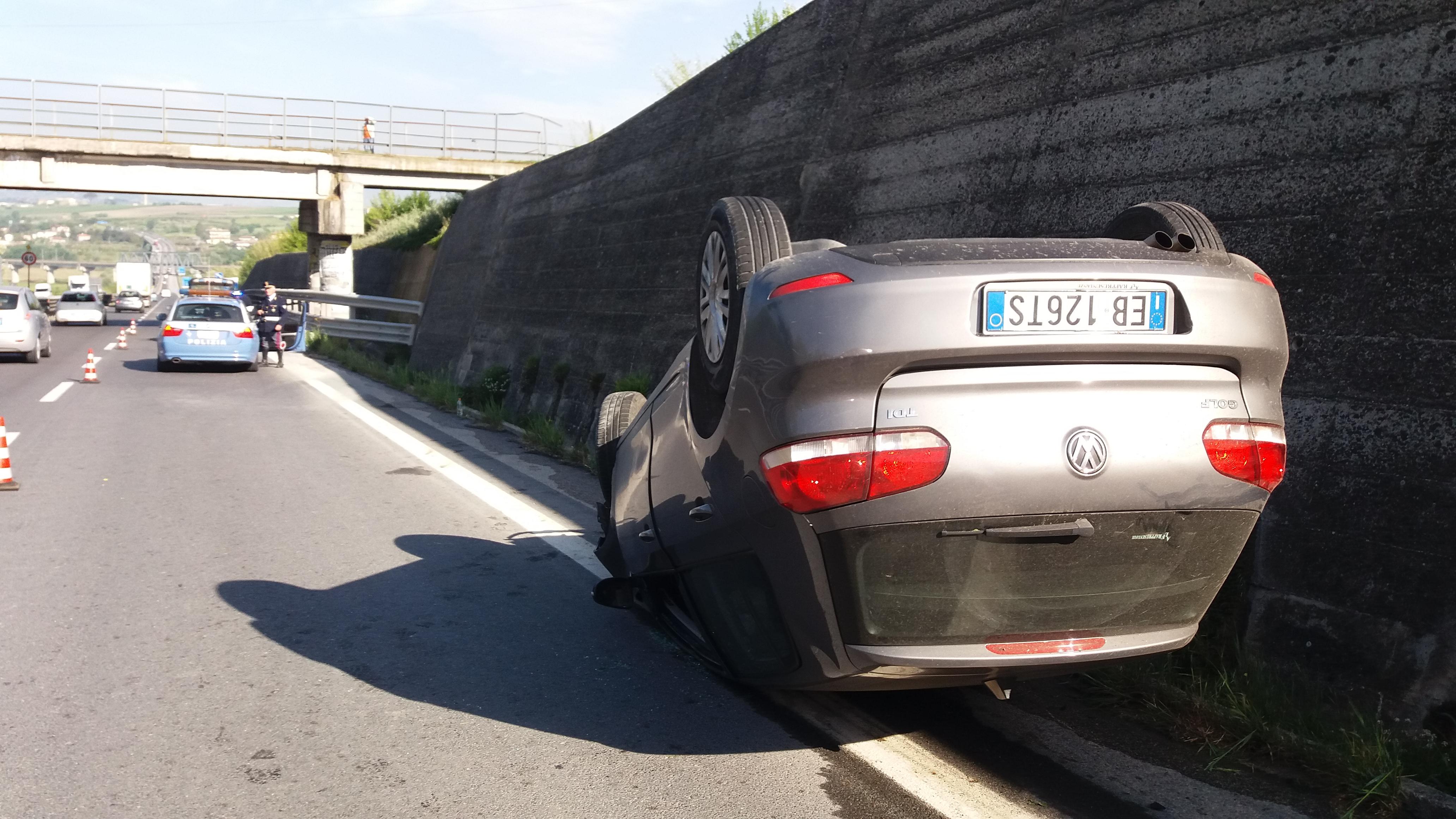 Benevento| Sbanda con l'auto e si ribalta, ferito 21enne