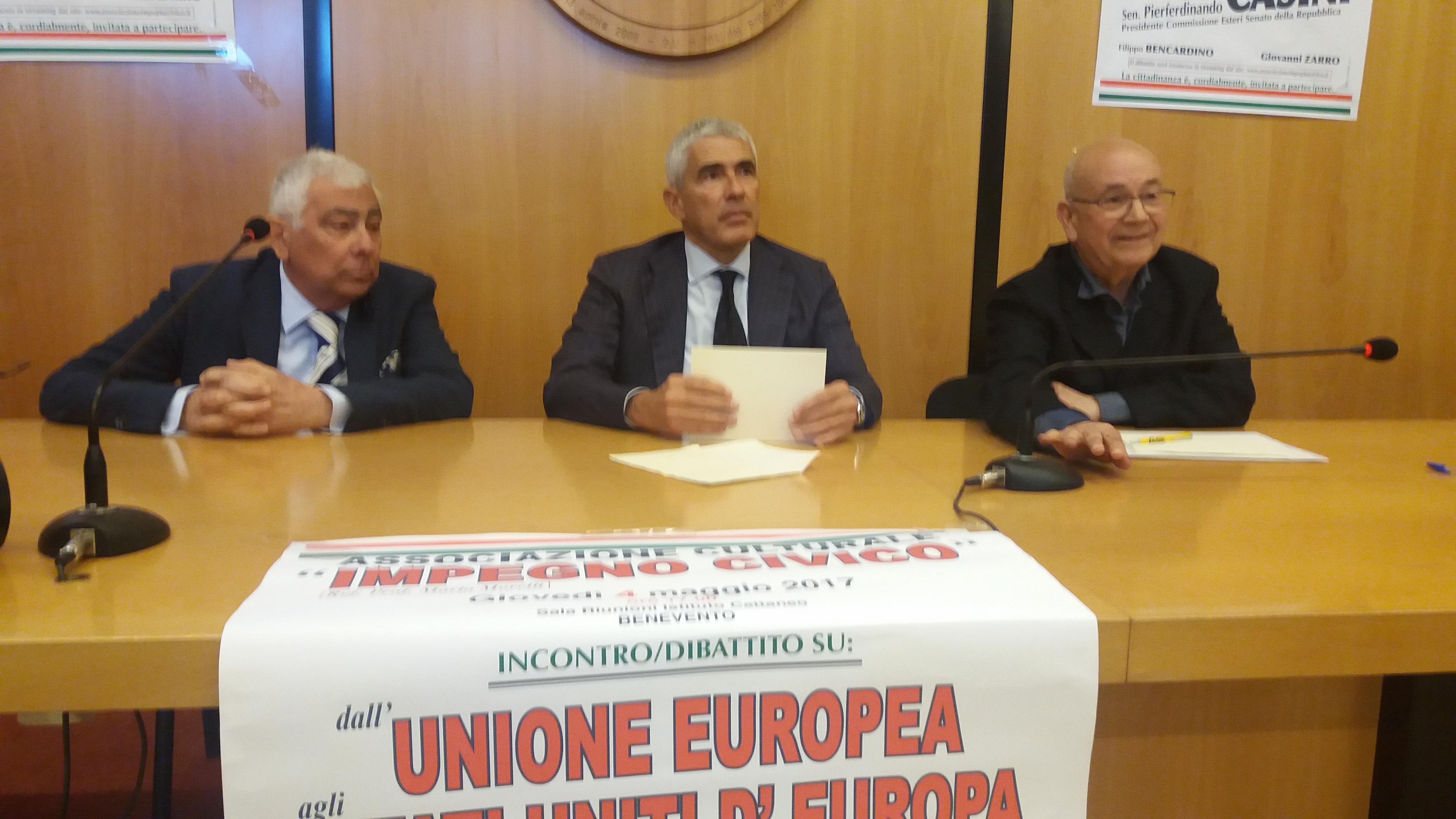 Benevento| Casini e l'Europa con un occhio alla contingenza politica