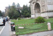 Benevento| Auto sbanda e finisce nei giardini dell'Arco di Traiano|FOTO