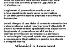"""Benevento  """"Potere al popolo"""" lancia la giornata di prevenzione e controllo medico"""