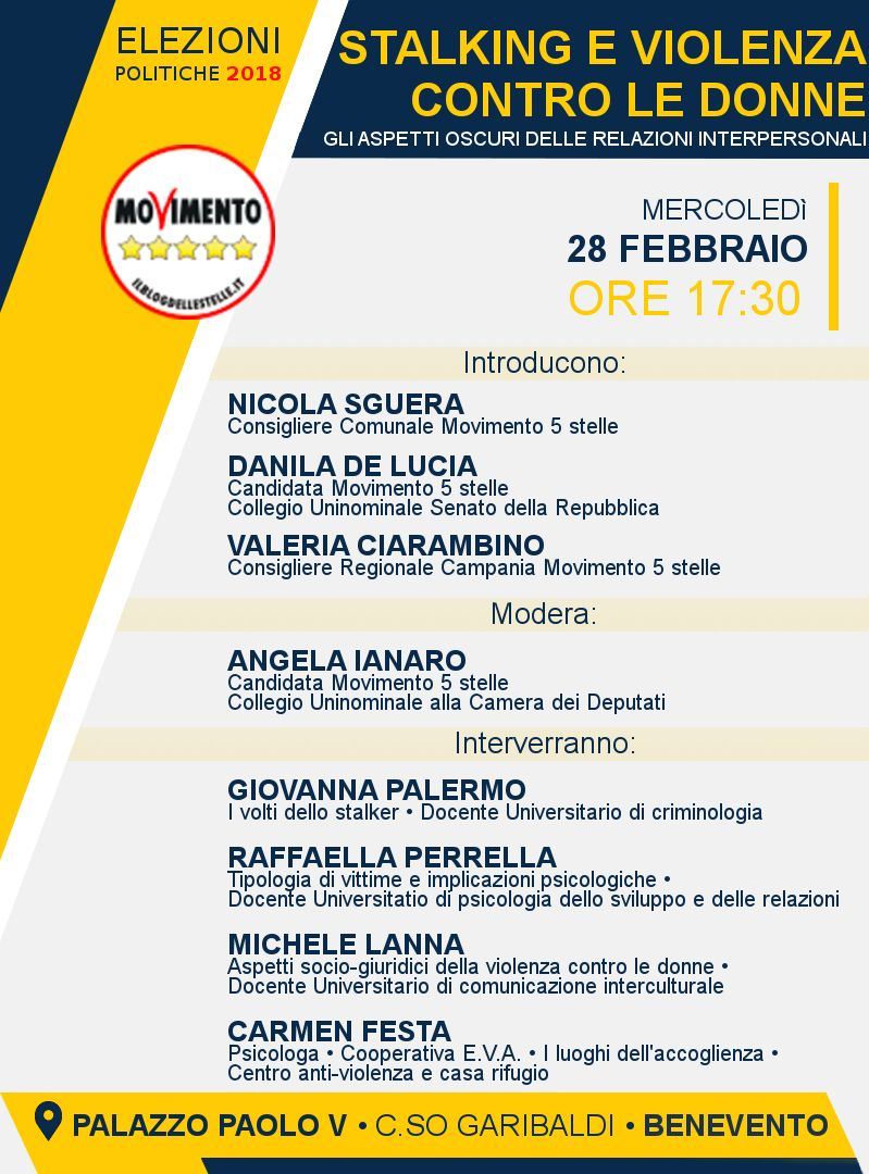 Benevento| Stalking e violenza contro le donne: convegno del M5S