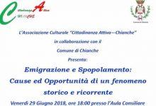 """Chianche  Un convegno su """"Emigrazione e spopolamento: cause e opportunità di un fenomeno ricorrente"""""""