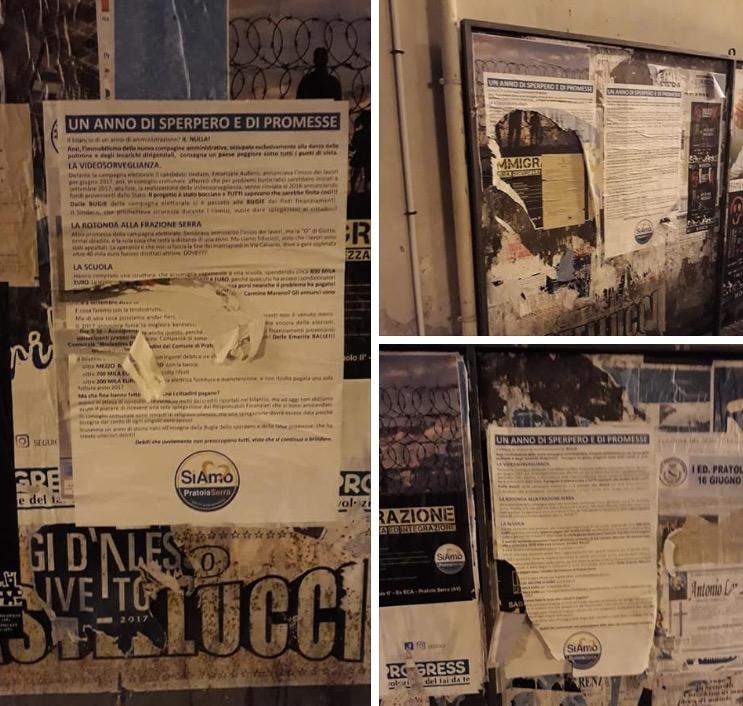 Pratola Serra| Strappati i manifesti dell'opposizione, clima di tensione in paese