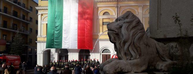 Benevento| Piazza Santa Sofia e i colori dei Vigili del Fuoco