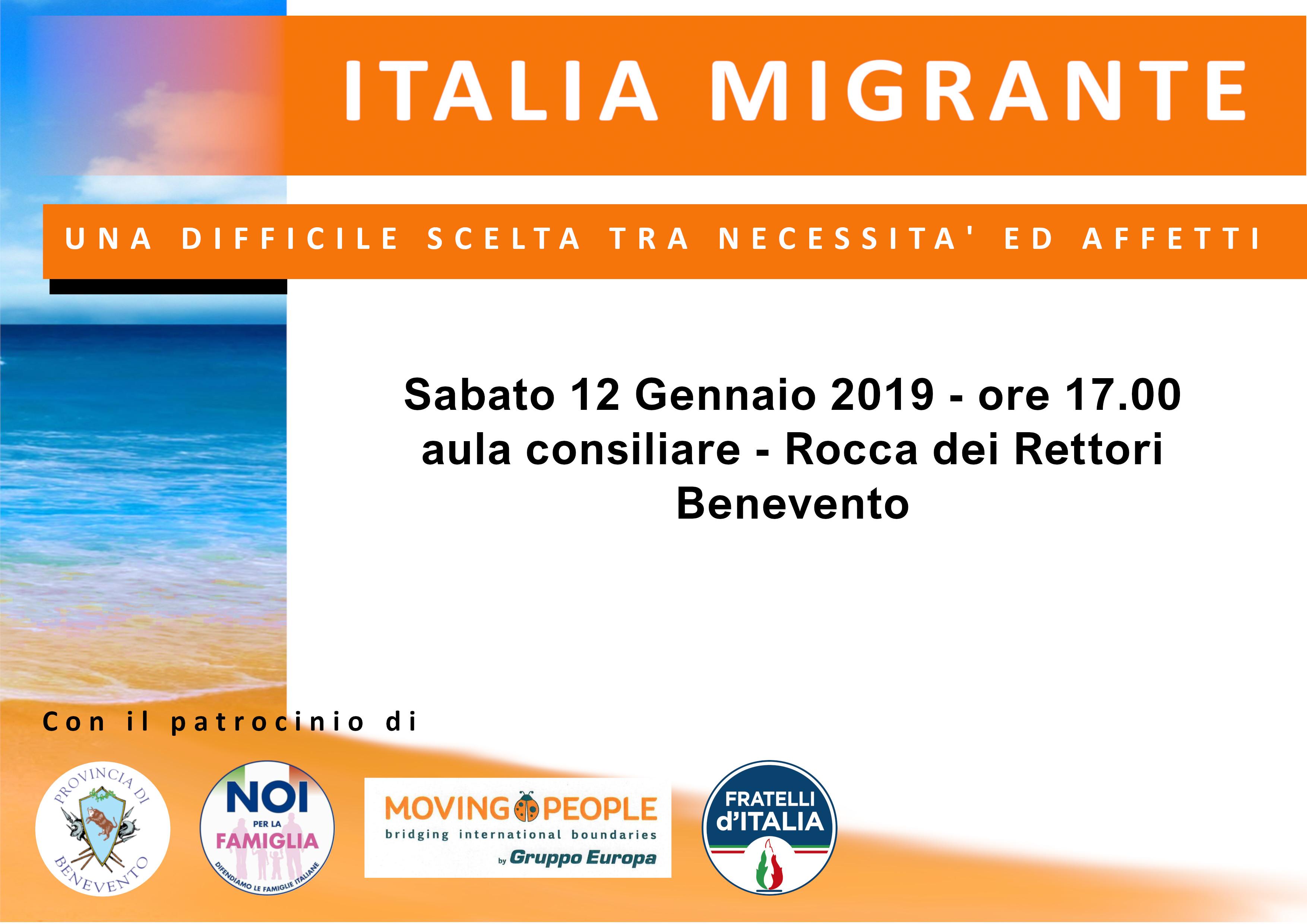"""Benevento  Alla Rocca dei Rettori convegno su """"Italia Migrante"""""""