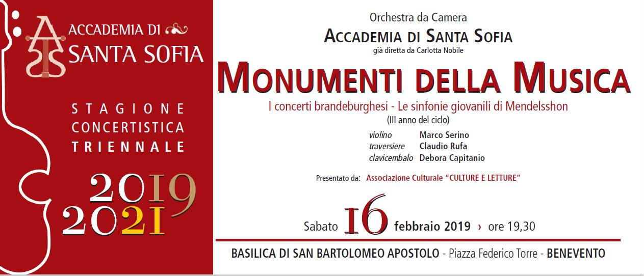"""Benevento  """"Stagione Concertistica 2019-2021"""", appuntamento con """"I concerti brandeburghesi e le sinfonie giovanili di Mendelssohn"""""""