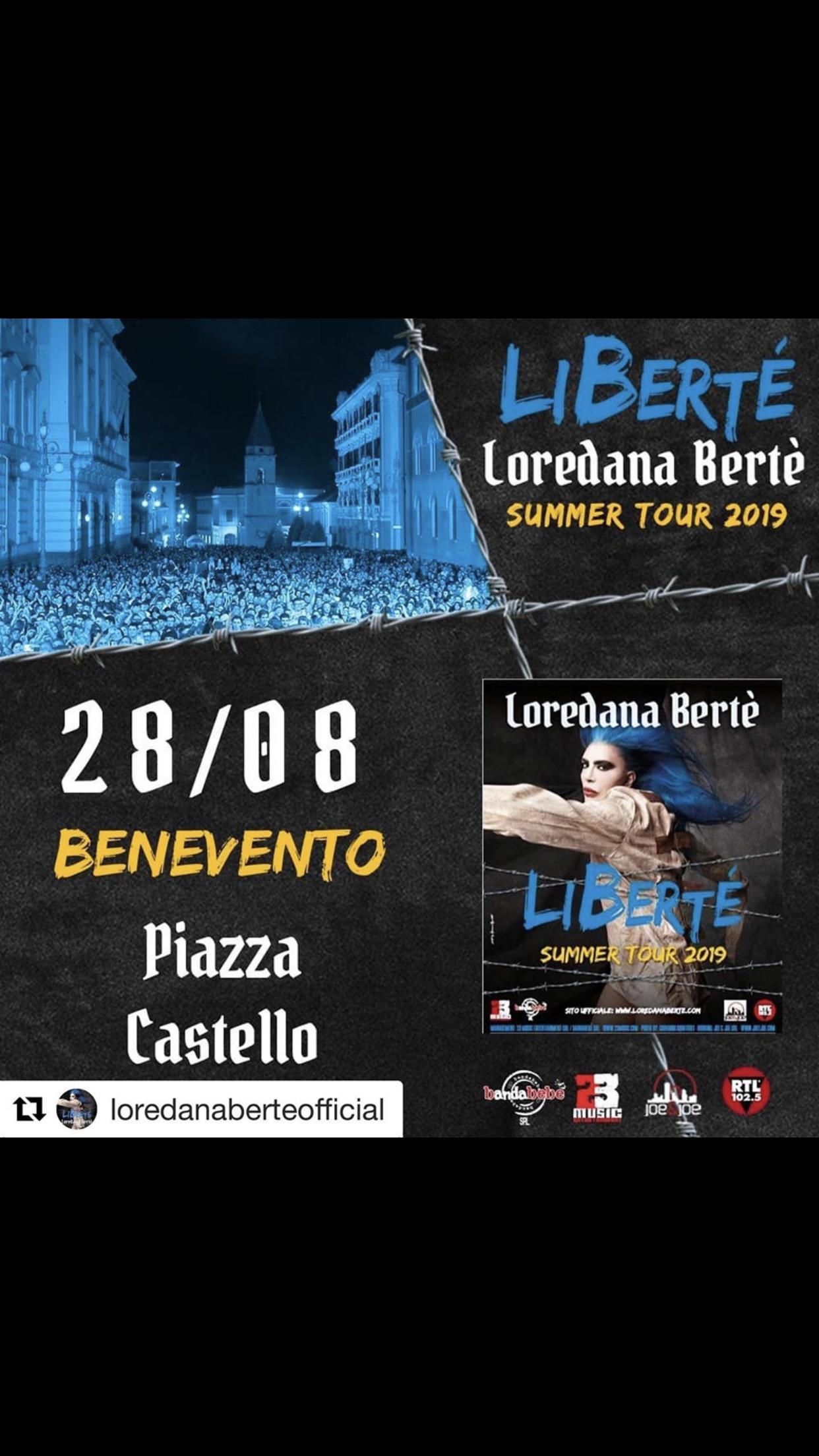 Benevento Città Spettacolo, il primo nome è Loredana Bertè. Concerto il 28 agosto