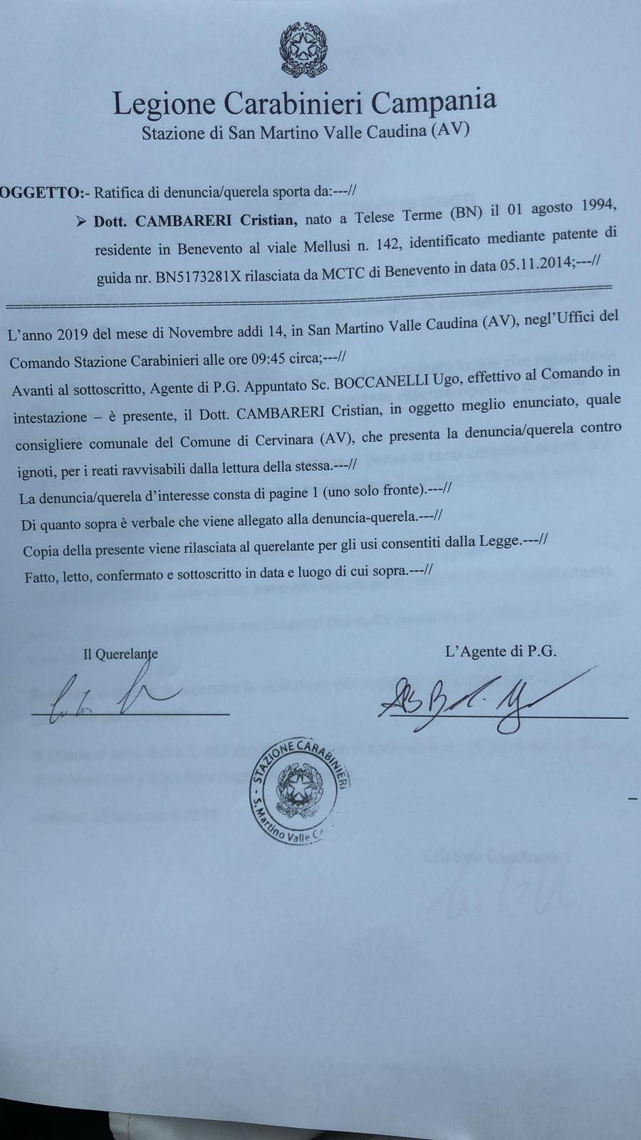 Cervinara  Cervinara, disservizi all'Asl: Cambareri presenta denuncia alla Procura della Repubblica