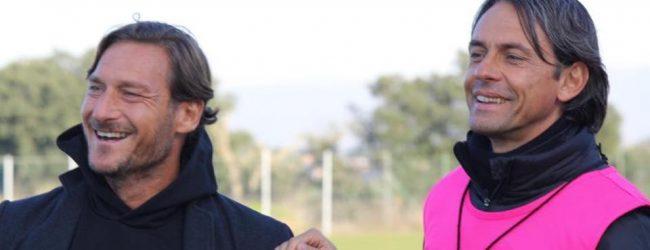 """Benevento, Totti a far visita. Inzaghi scherza: """"Ecco il nuovo acquisto…"""""""
