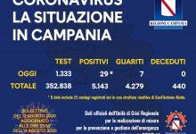 Covid-19, oggi in Campania 29 nuovi positivi