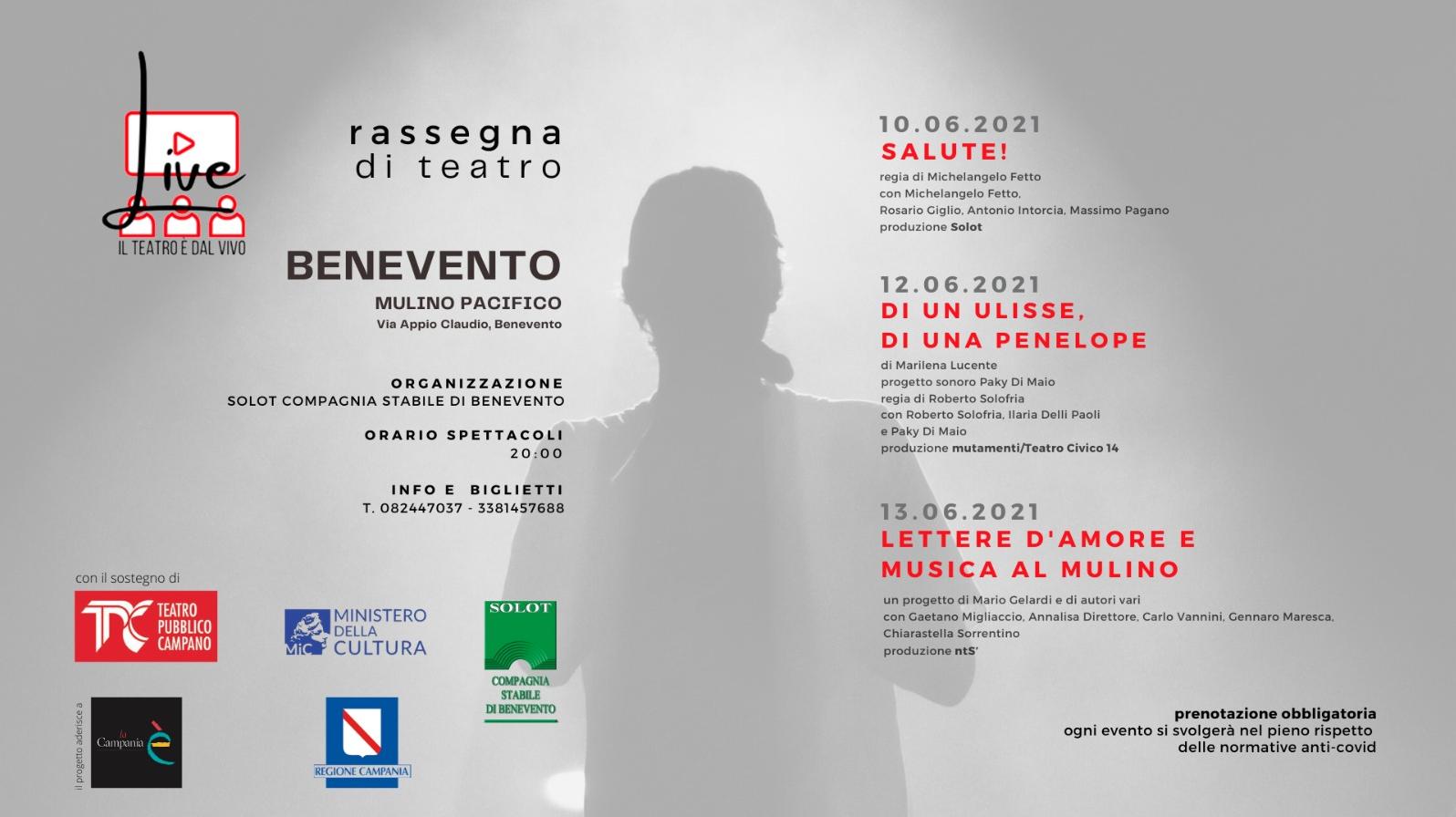 Benevento|Mulino Pacifico, parte la rassegna 'LIVE! IL TEATRO È DAL VIVO'