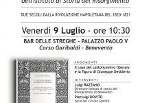 Benevento Venerdì 9 luglio, presentazione dell'Istituto Storico del Risorgimento